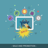 Sale and promotion vector banner. Flat illustration for promotion materials or website banner.