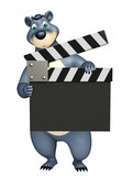 fun Bear cartoon character with clapper board