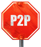 p2p, 3D rendering, a red stop sign