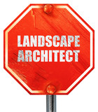 landscape architect, 3D rendering, a red stop sign