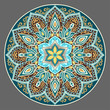 Flower Mandala in turquoise colors. Vintage decorative elements. Oriental pattern. Islam, Arabic, pakistan, chinese, ottoman, Indian, turkish motifs