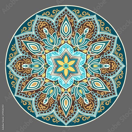 Fototapeta Flower Mandala in turquoise colors. Vintage decorative elements. Oriental pattern. Islam, Arabic, pakistan, chinese, ottoman, Indian, turkish motifs