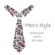 Patterned cravat. Batik, doodle, zentangle design. It may be used for design of a t-shirt, bag, postcard and poster.