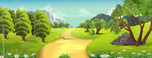 Foto op Plexiglas Lime groen Nature landscape, rural road, vector background