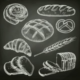 Bread, sketches on the chalkboard vector set