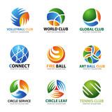 Circle ball logo for sport and business vector set art design
