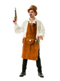 Steampunk man with gun isolated on white background. Clipping path included.
