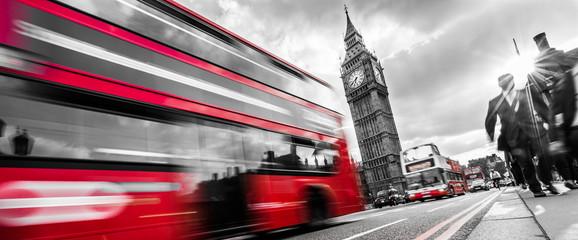 Londyn autobus czerwony w ruchu