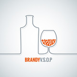 brandy glass bottle vector background