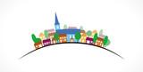 Village silhouette couleurs sur courbe - 111603559