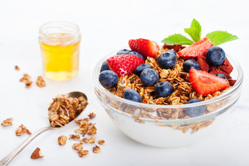 Healthy breakfast Fresh granola, muesli in bowl.