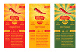 Three leaflets design recipes spicy dishes. Degree of severity: hot, spicy, mild.