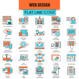 Set of thin line icons web design and development