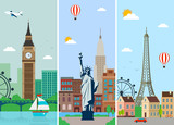 Fototapety Cities skylines design with landmarks. London, Paris and New York cities skylines design with landmarks. Vector