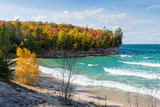 Fototapety Lake Superior Chapel Beach in Autumn - Pictured Rocks National Lakeshore