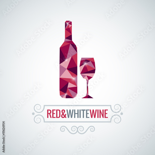 Panel Szklany wine bottle poly design vector background