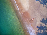 Fototapety People on the beach by aerial view