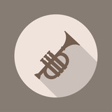 Trumpet Icon, Flat Design