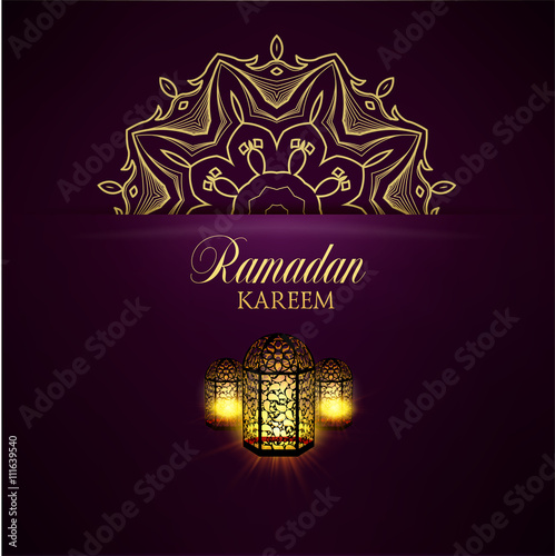 Poster Ramadan Kareem greeting ornate background.