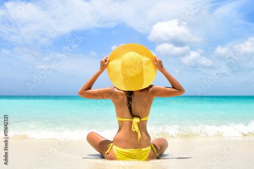 summer beach vacation carefree happy woman relaxing enjoying sun