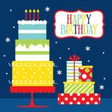 birthday celebration design with birthday cake and birthday gift