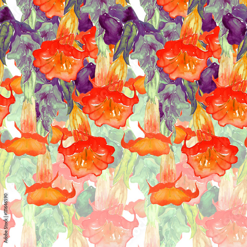 Catalpa watercolor hand painted seamless pattern  - 111646590