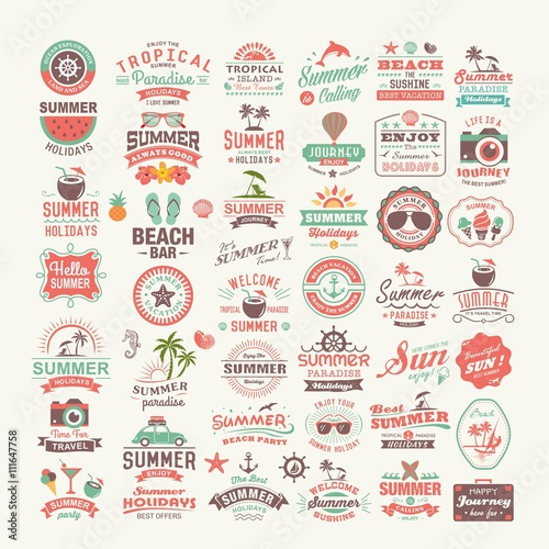 Vintage summer design and typography design with labels, posters, icons, logos, element set.