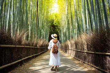 Touist is walking inside bamboo forest Arashiyama, Kyoto, Japan.
