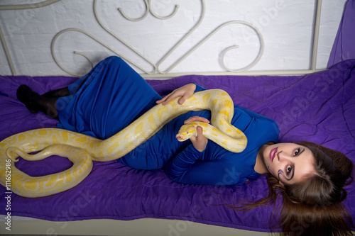 Poster beautiful woman with python