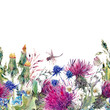 Summer watercolor seamless floral border with wild flowers - 111653583