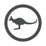 Icono plano canguro en circulo color gris