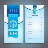 Fish restaurant menu design with seafood