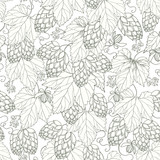 Vector seamless pattern with ornate Hops with leaves in black on the white background. Outline Hops for beer and brewery decor. Hops background in contour style for summer design. - 111664745