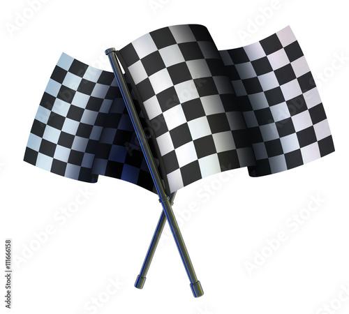 Foto op Plexiglas F1 Checked two sport flag