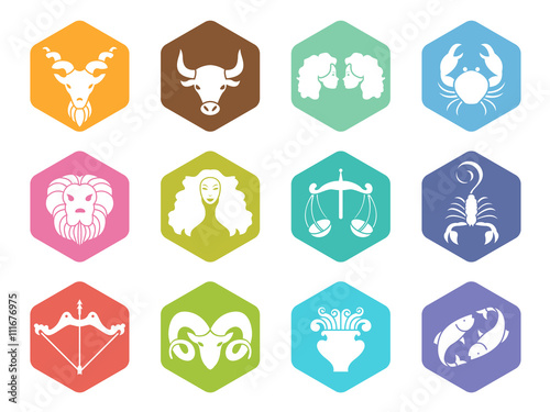 zodiac sign icon on hexagon vector set design © ananaline