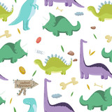 Dinosaurs. Vector seamless pattern on white background.