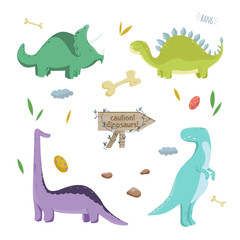 Dinosaurs set. Vector illustration.