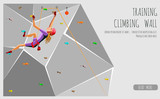 Fototapety Training climbing wall with grips and holds. Rock Climbing girl. On Grey Background. Bouldering sport. Graphic Design Editable For Your Design. Vector Illustration