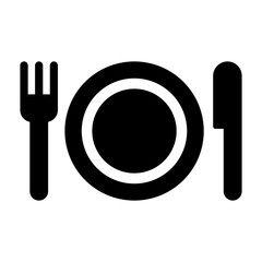 plate fork knife icon black on white background