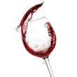 Quadro Red wine pouring to glass closeup. Clipping path included