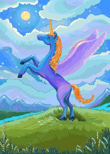 Poster Pony Unicorn illustration. Blue unicorn in the night of the landscap