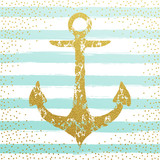 golden anchor on striped background wallpaper.