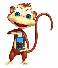 cute Monkey cartoon character with swap machine