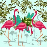 Pink Flamingos Exotic Birds with Tropical Plants