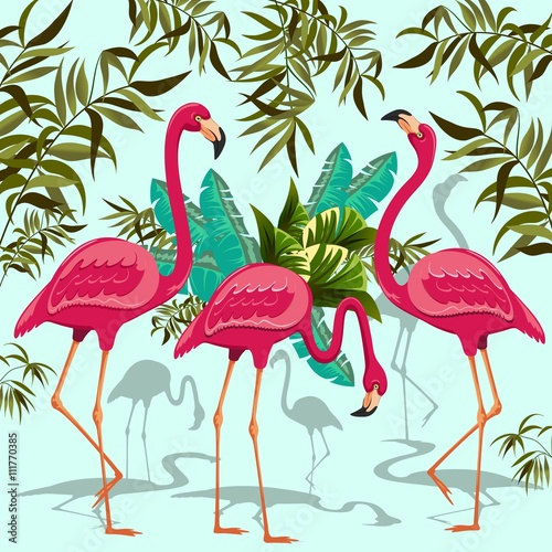 Tuinposter Draw Pink Flamingos Exotic Birds with Tropical Plants
