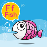 F Fish color cartoon and alphabet for children to learning vecto