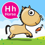 H Horse color cartoon and alphabet for children to learning  vec