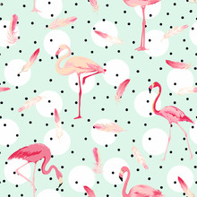 Flamingo ptaków w tle. Flamingo Feather tło. Retro Seamless Pattern