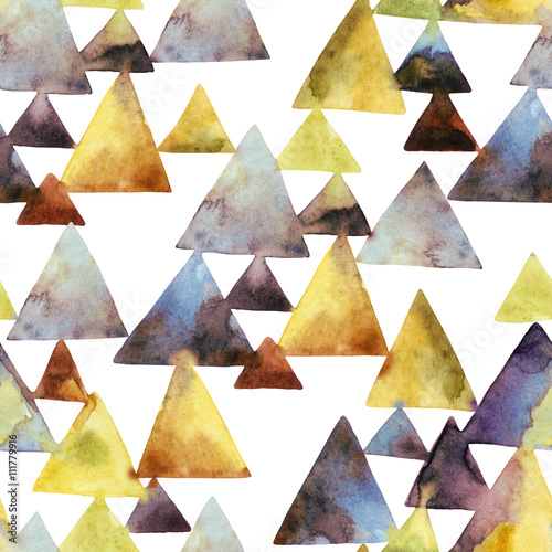 Watercolor triangle seamless pattern. - 111779916