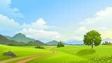 Fototapety Dual lane path across vast and beautiful grasslands